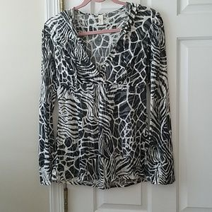 Loveappalla Zen.  Animal print hooded tunic.